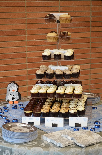 A tower of cupcakes, especially the chocolate ones, made us all very happy.