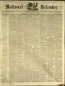 National Defender, v. III, no. 9, Tuesday, October 12, 1858, Whole Number: 113