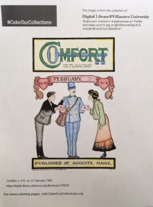 Cover of Comfort, February 1904, colored by Sue O.