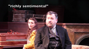 Allyce Morrissey as Beth March (left) and Kevin Esmond (right) as Mr. Laurence.
