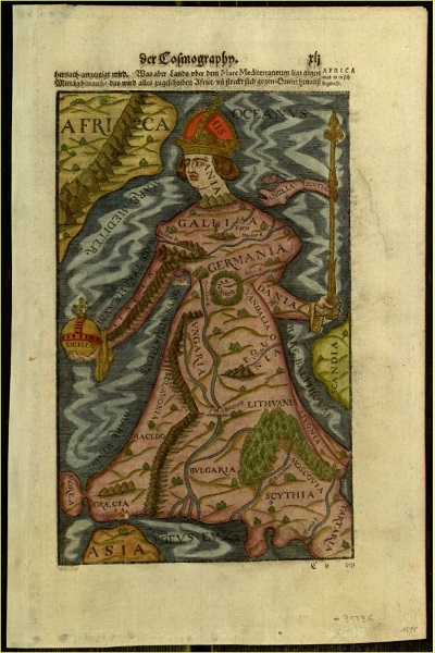 Europa regina, 1544 German map in Digital Library