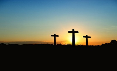 Three crosses silhoutted
