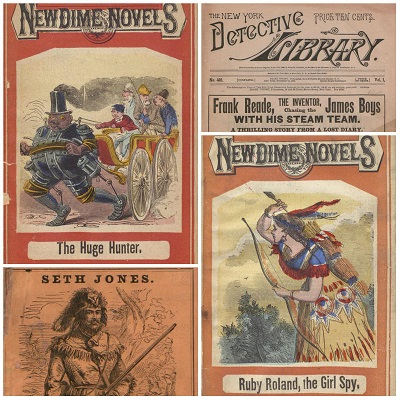 Collage of Dime Novel covers