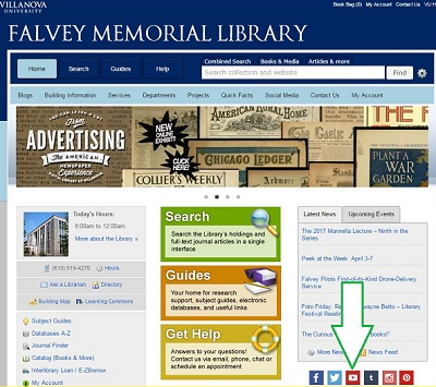 Falvey homepage with YouTube button