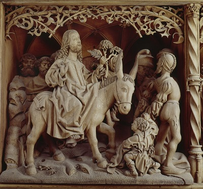 Entry into Jerusalem, wood sculpture by Jan van Haldem, 1500, St. Nicolai, Kalkar, Germany
