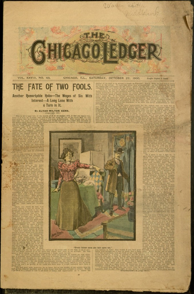 Front cover, Chicago Ledger, v. XXVIII, no. 43, Saturday, October 27, 1900