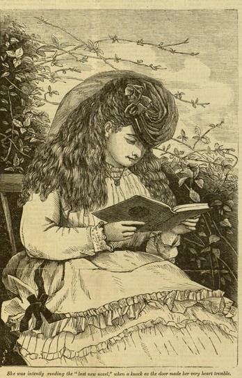 Selection, p. 8, She was intently reading the 'last new novel', The New York family story paper, v. II, no. 103, Sept. 27, 1875