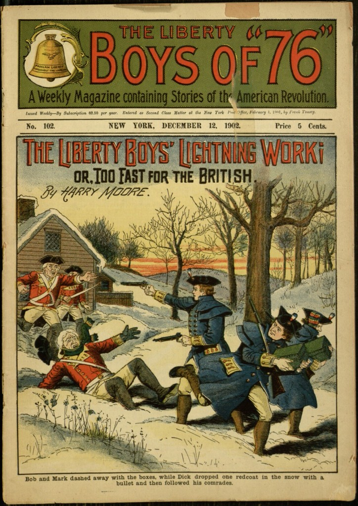 Front cover, The Liberty Boys' lightning work; or, Too fast for the British / by Harry Moore