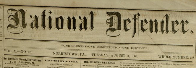Masthead, National Defender, v. X, no. 52 [53], Tuesday, August 14, 1866