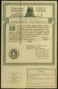 "Pledge Form: ""Starvation Insurance for ... German Children,"" Issued by: American Committee for Relief of German Children"