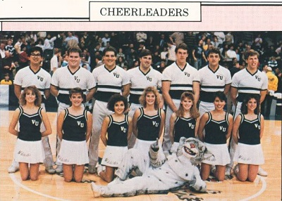Photograph of 1988 cheerleaders and Will D Cat from Belle Air