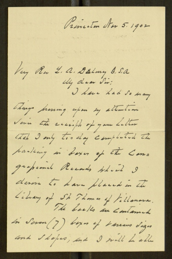"Front, Letter, To: ""Very Rev. L. A. Delurey, O.S.A."" From: Grover Cleveland, November 5, 1902"