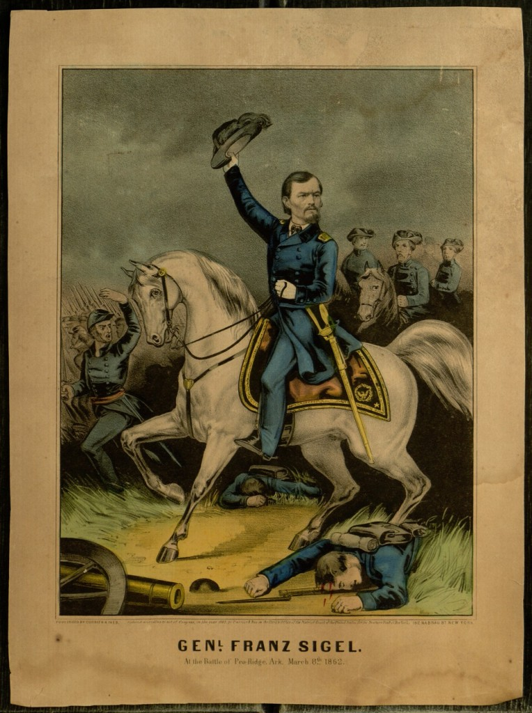 Lithograph, General Franz Sigel at The Battle of Pea Ridge, Ark., 1862