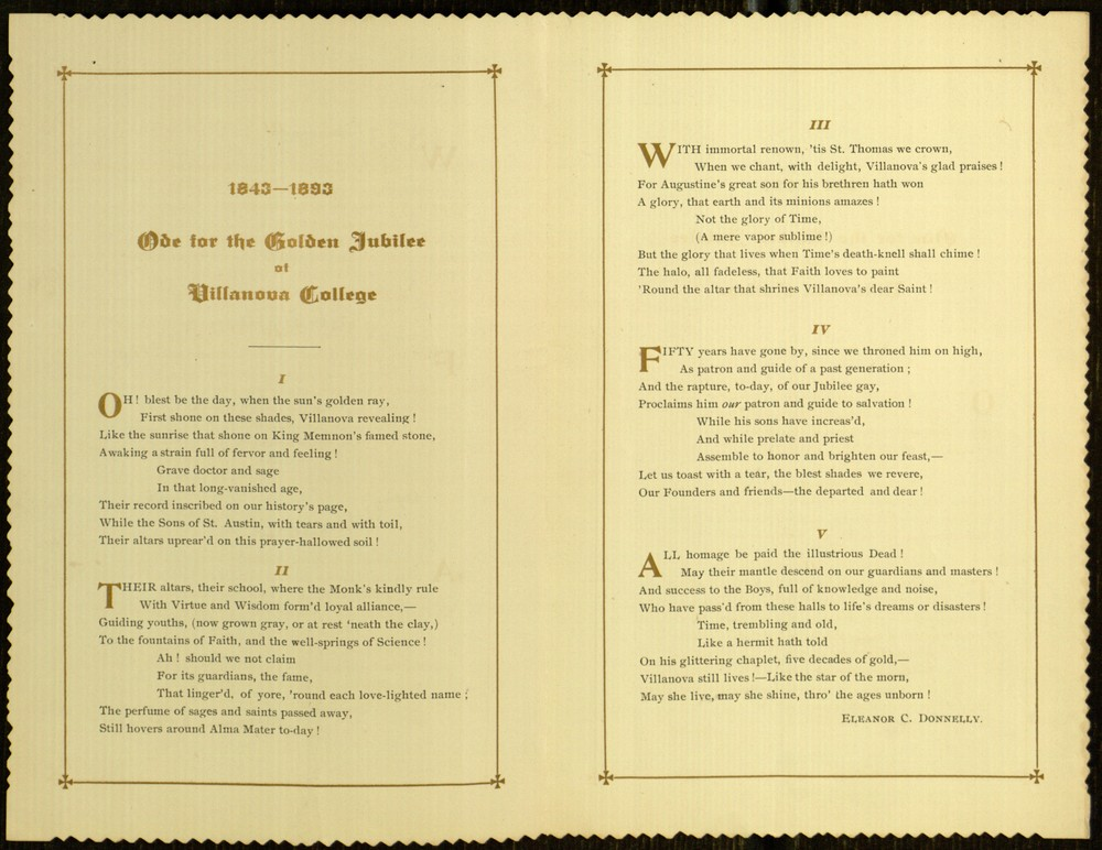 Inside, 1843 - 1893 Ode for the Golden Jubilee of Villanova College