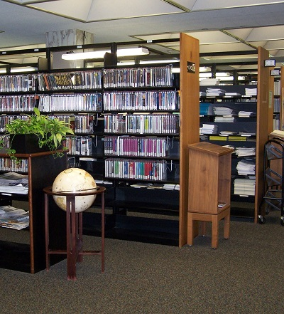 View of DVD stacks on 1st floor in 2011