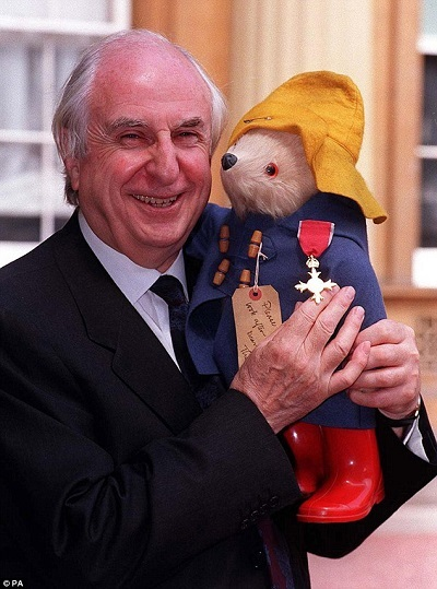 Photo of Michael Bond and Paddington Bear