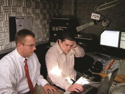 Dan Overfield and Chris Barr in radio studio