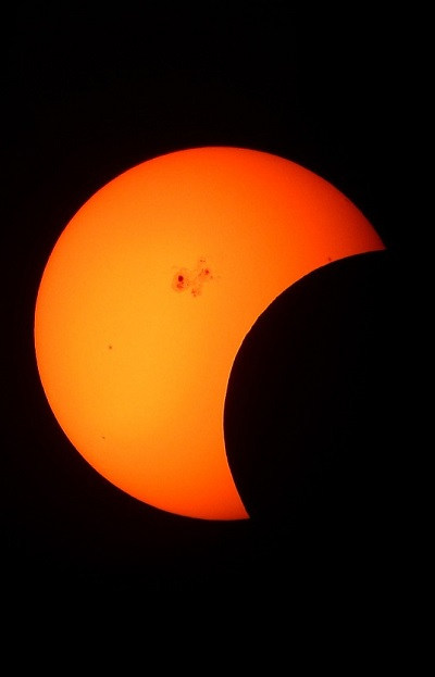 photograph of partial solar eclipse