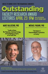 Outstanding Faculty Research Award Lecture. 2018 OFRA, Marc Gallicchio, Michael Pagano
