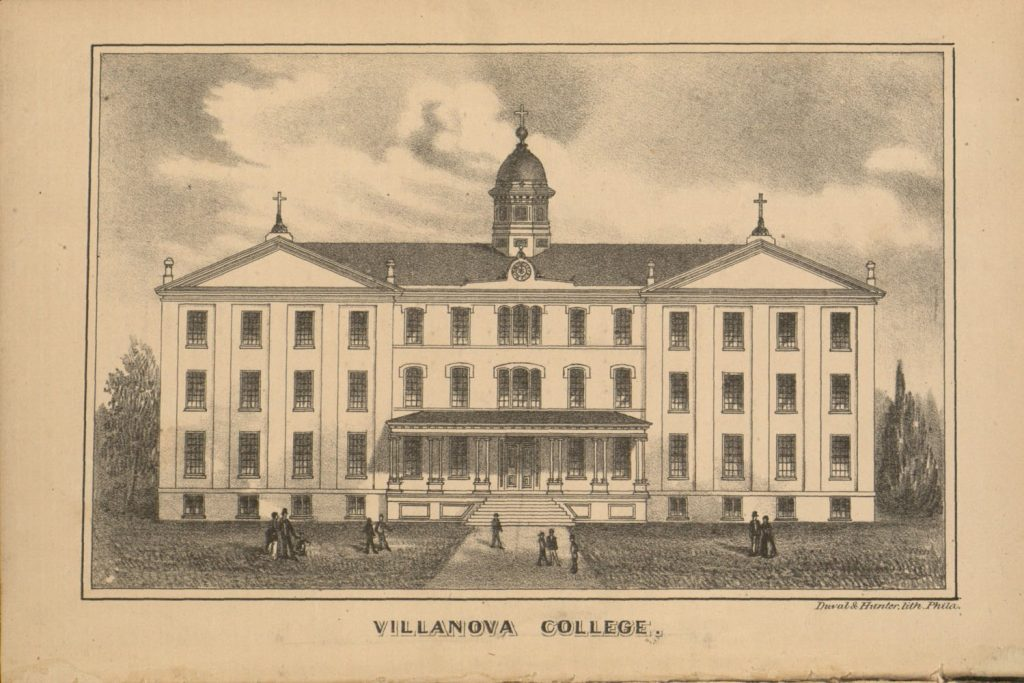 A lithograph depicting Villanova College in the 1880s, showing a 4-story building topped by a cupola and two crosses, with a few human figures walking in the foreground.
