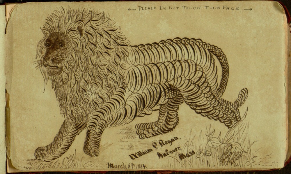 "Pen and ink drawing of a lion, signed by William P. Regan. A note at the top of the image reads ""Please do not touch this page."""