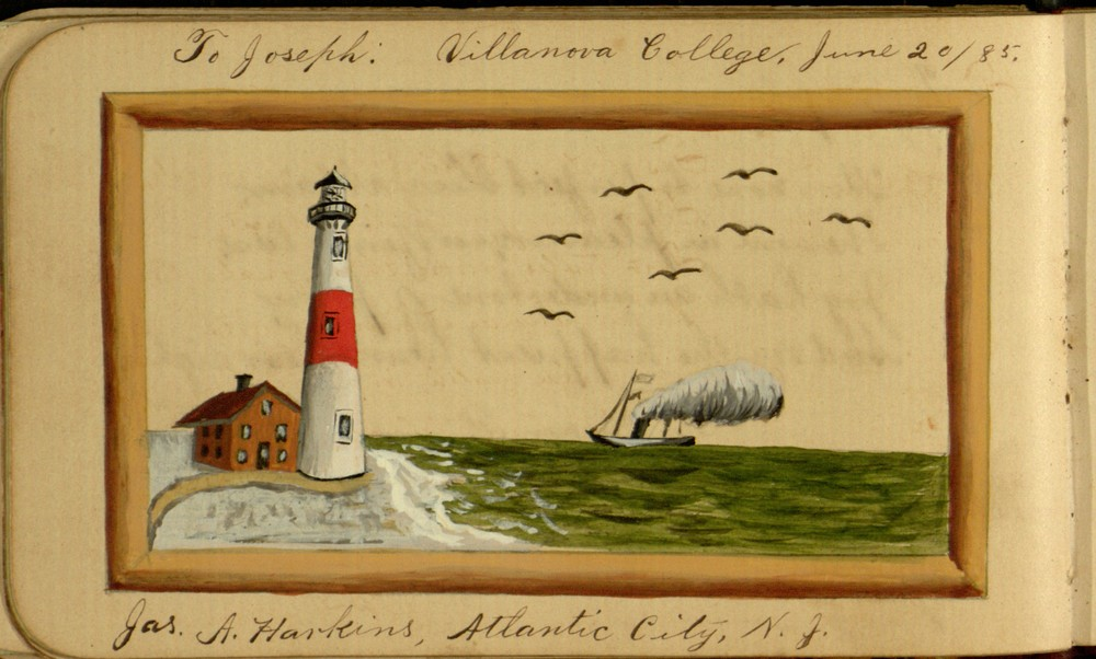 Painting of a red-and-white striped lighthouse with a ship on the sea to the right, signed by Jas. A Harkins.