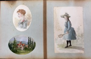 Two-page spread of a scrapbook with watercolors including a profile portrait of a young woman, a house next to a stand of trees, and a young woman with a tennis racquet.