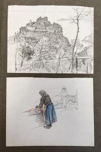 Scrapbook page with two graphite illustrations, one of the ruins of a castle on a hill and the other (in color) of a woman bent over some cloth, possibly ironing.