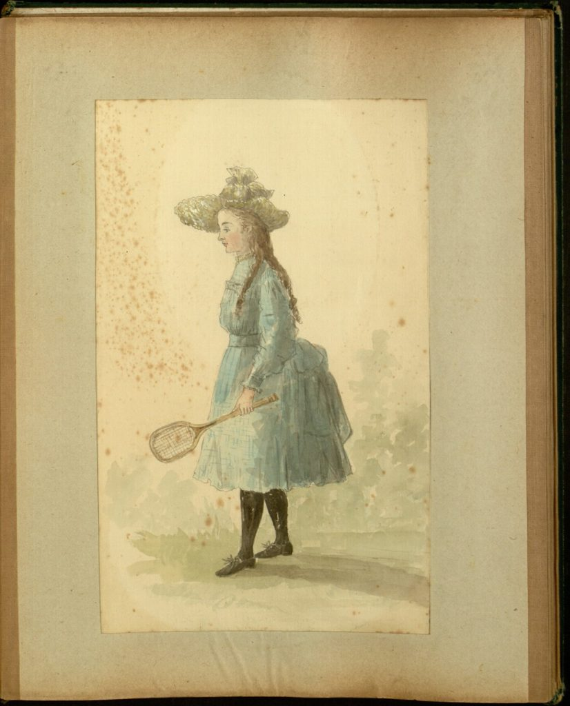 Young woman in a blue calf-length dress with small bustle, wearing a straw sunhat and early tennis shoes, holding a tennis racket in her left hand.