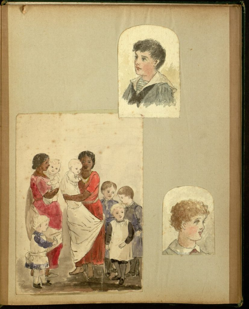Watercolor portraits of the heads of 2 white boys and a group portrait, also in watercolor, of 2 Bengali nannies with 6 white children.