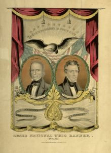 Political poster depicting the 1844 Whig candidates for president and vice-president, Henry Clay and Theodore M. Frelinghuysen.