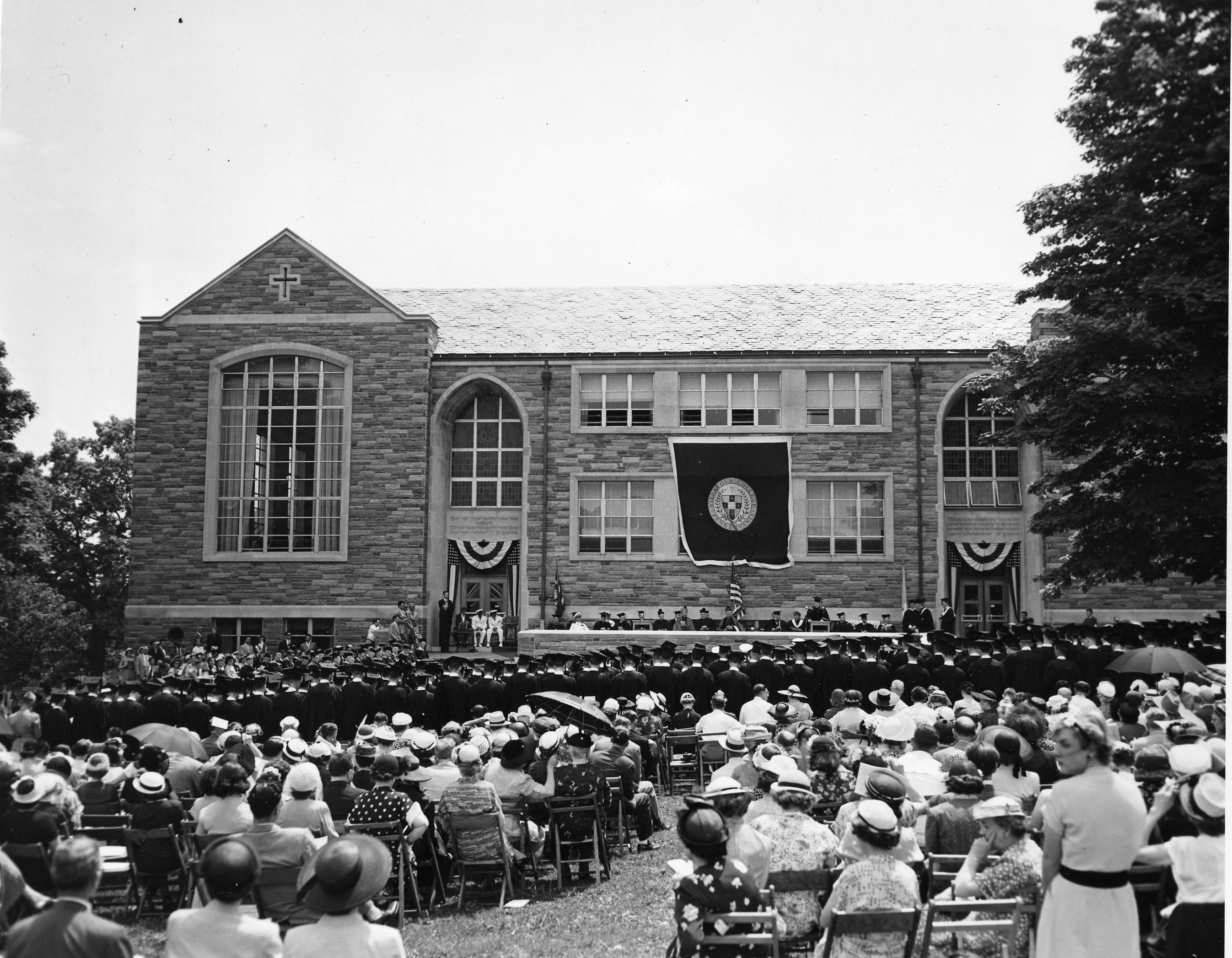 1951, 1951 commencement, mendel field, villanova. alumni reunion weekend