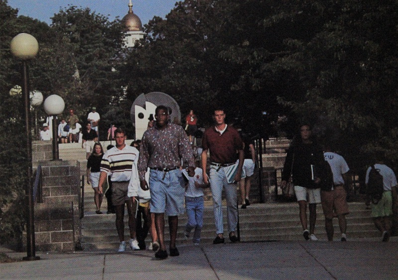 The Oreo statue in 1991, The Awakening, and students