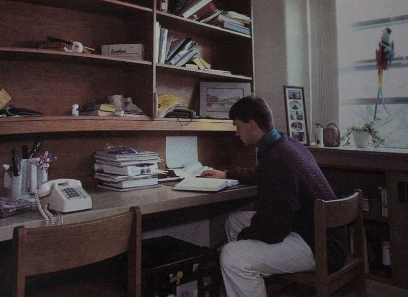 Student in dorm room in 1991