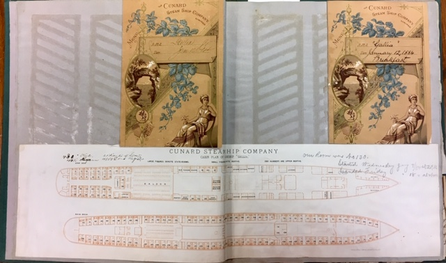 Two-page spread of a scrapbook showing brochures of the Cunard Steamship Company.