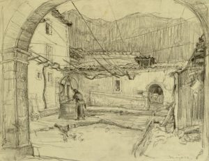 Sketch of a courtyard with a woman leaning over a well.