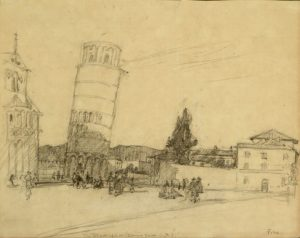 Drawing of the Leaning Tower of Pisa in Italy.