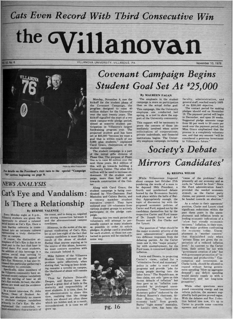 Villanovan with Gerald Ford on the cover