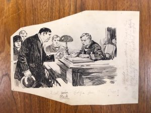 An illustration of a man handing a piece of paper to another man over a ledger book.