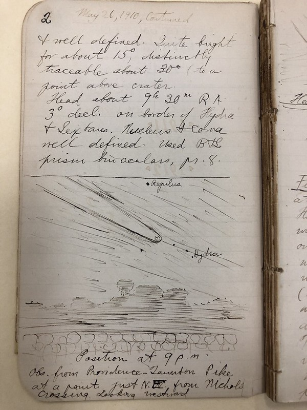 Lovecraft journal page with Halley's Comet