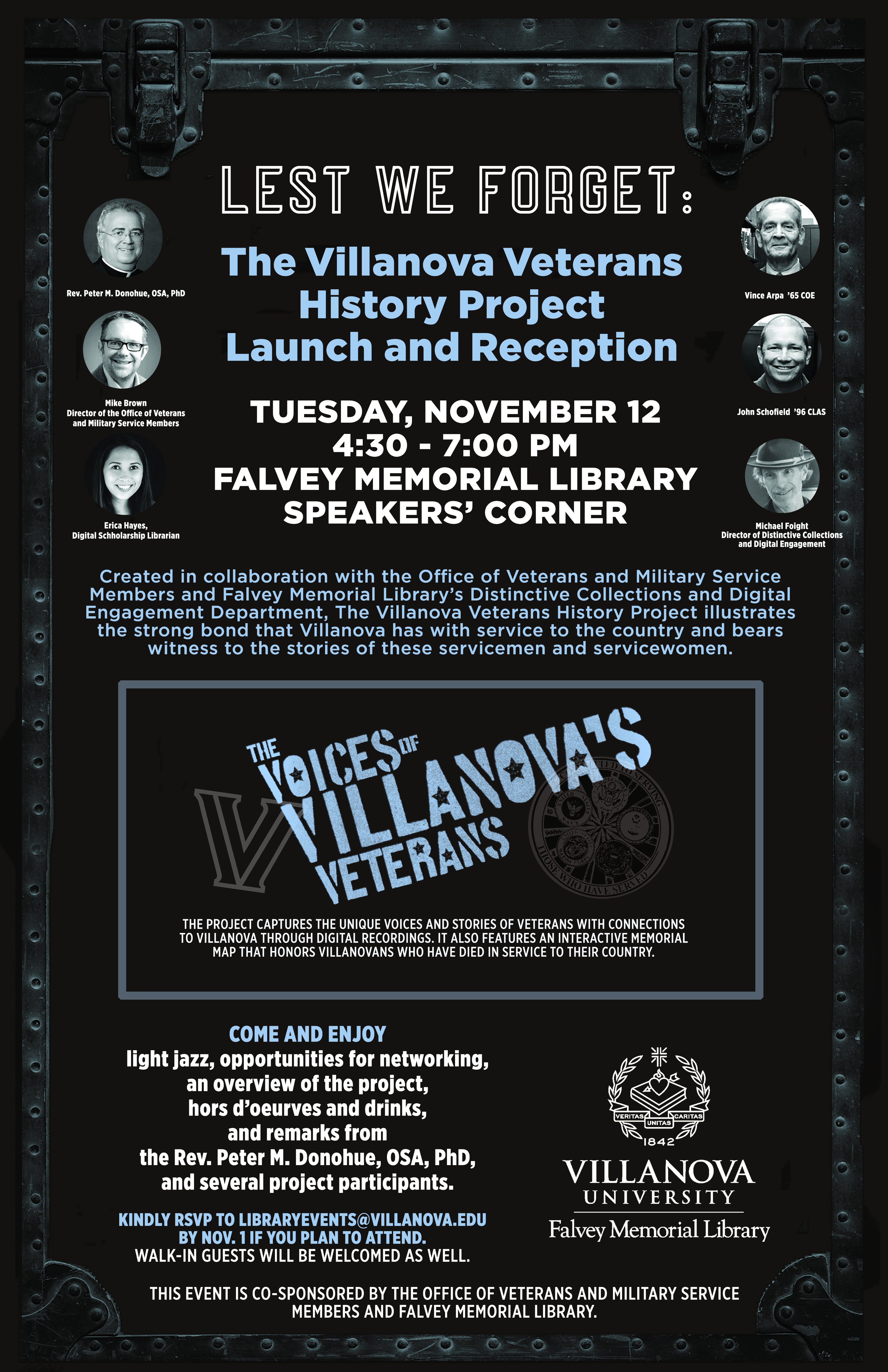 Villanova's Veterans Voices event poster