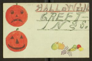 Hand-drawn Halloween card with two jack o'lantern faces.