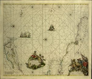 17th-century map of the North Atlantic Ocean.