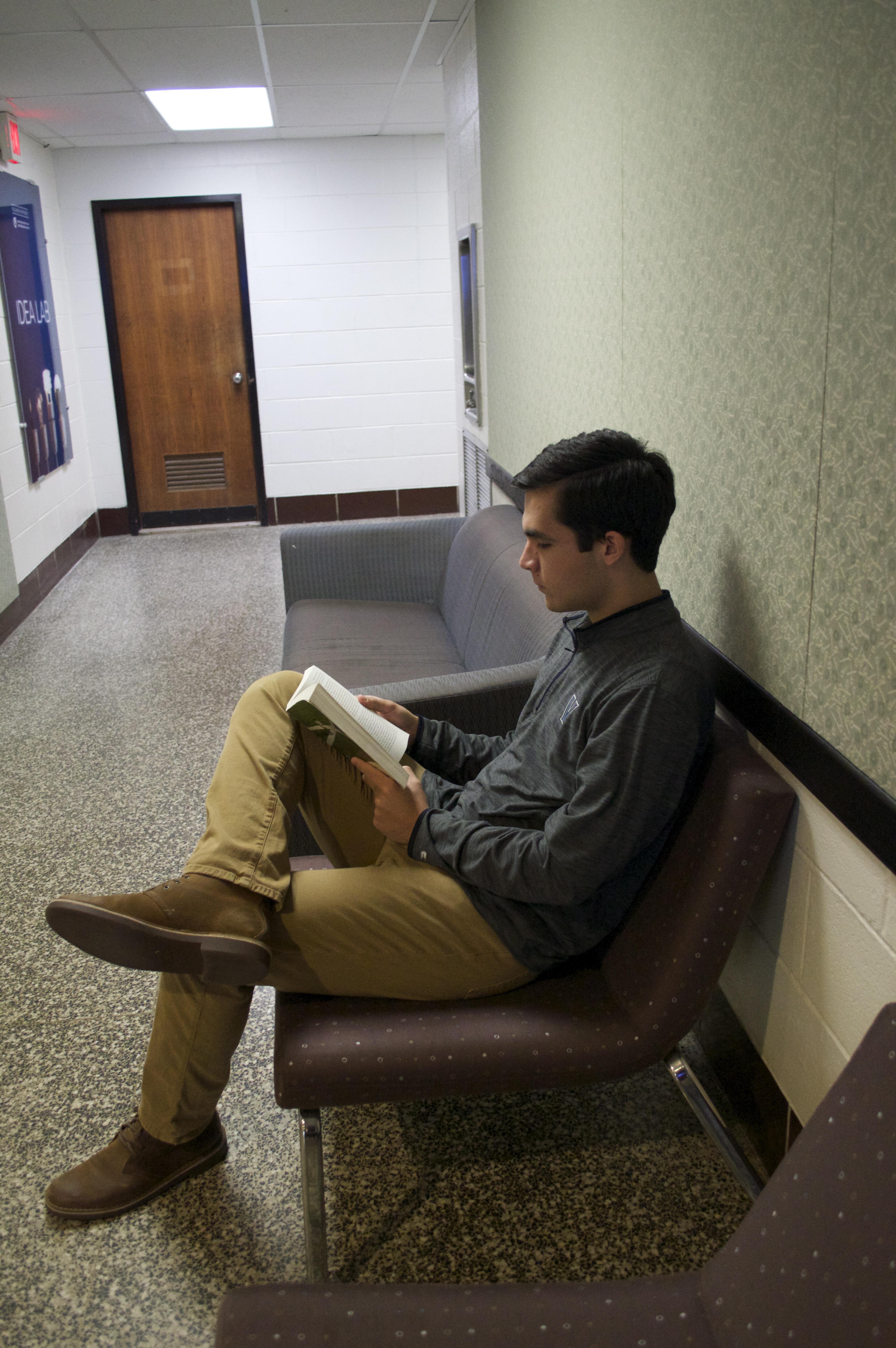 studyign in Falvey's basement