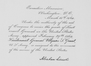 Scan showing Ulysses S. Grant's assignment to command the armies of the United States