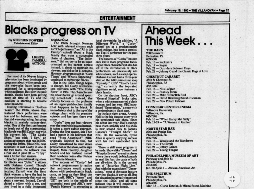 "Villanovan article: ""Blacks progress on TV"""