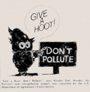 """Give a Hoot, Don't Pollute"" Owl Cartoon"