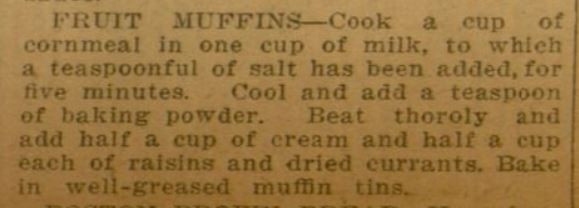 "Picture of 1918 fruit muffin recipe from the ""Chicago Ledger."""