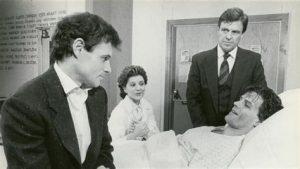 Brad Davis, D. W. Moffett, Concetta Tomei, and Phillip Richard Allen in The Normal Heart