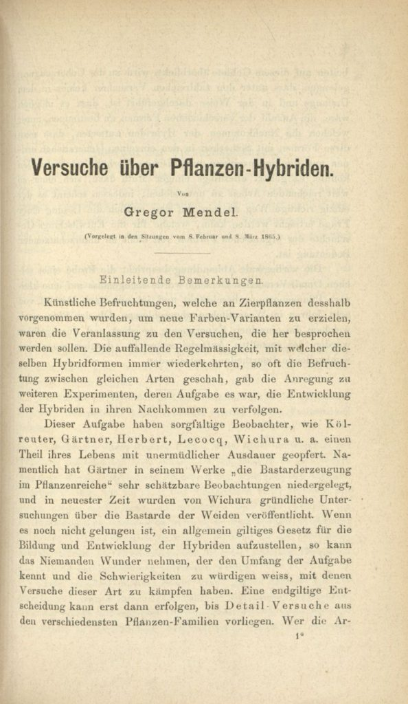"Image of Mendel's papers on ""Experiments in Plant Hybridisation"" which he delivered before the Natural Sciences Society of Brünn on February 8th and March 8th, 1865."